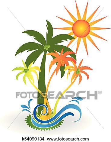 Tropical Island Paradise Beach Logo Clipart K54090134 Fotosearch