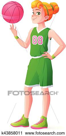 0d357038b922 Clipart - Vector young redhead basketball player girl spinning ball on  finger.. Fotosearch