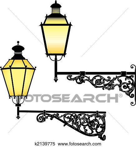 Clipart Of Wall Street Lamps K2139775