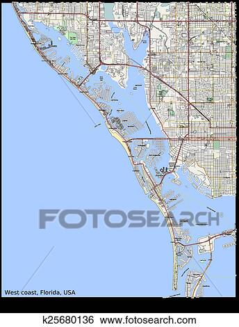 Clip Art of West coast Florida USA city map k25680136 - Search ...