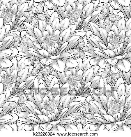 Beautiful Monochrome Black And White Seamless Pattern With Lotus