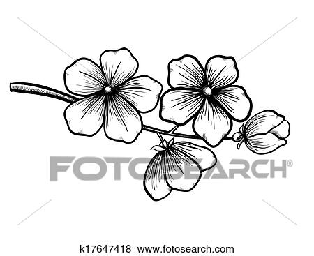 Clip art of branch of a blossoming tree in graphic black white style branch of a blossoming tree in graphic black white style drawing by hand symbol of spring mightylinksfo