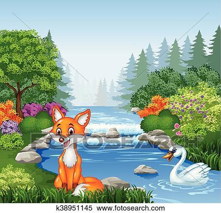Cartone animato volpe e cigno in foresta clipart k38951145