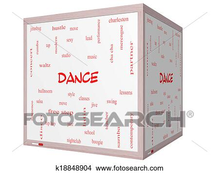 stock photo of dance word cloud concept on a 3d cube whiteboard