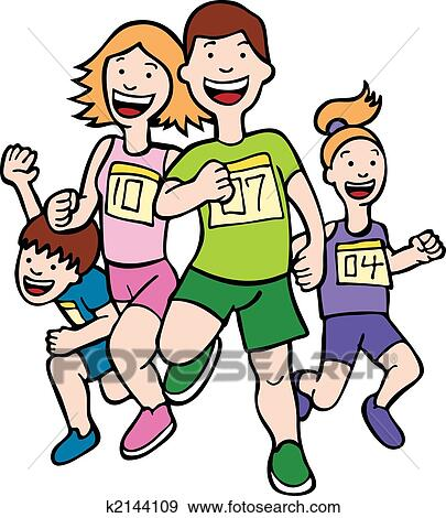 clip art of family run art k2144109 search clipart illustration rh fotosearch com clipart of a family clipart of a family doing household chores