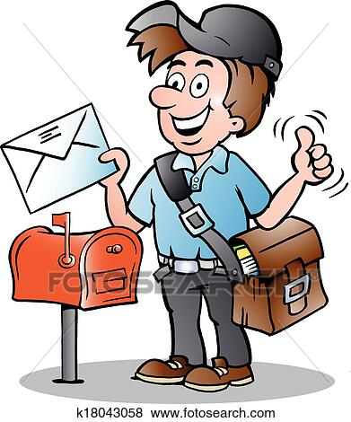 clip art of illustration of an happy postman k18043058 search rh fotosearch com mailman clipart images dog chasing mailman clipart