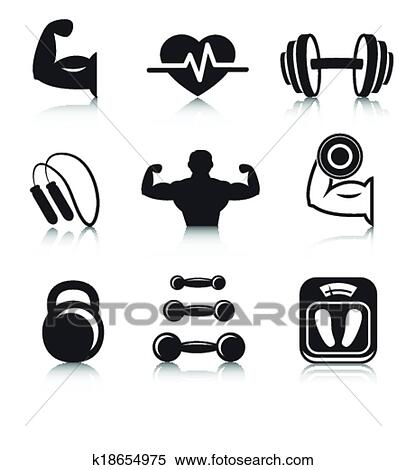 Clipart fitness musculation sport ic nes ensemble - Musculation dessin ...