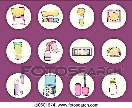 Makeup Products Cartoon Doodle Elements Beauty Print Out Stickers Clipart K50601674 Fotosearch