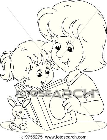 Clipart Of Mother And Daughter Reading K19755275