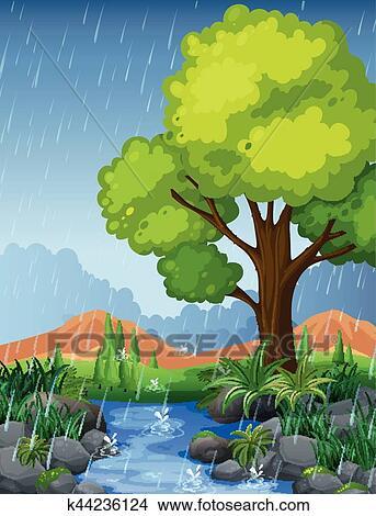 Clipart of Park scene in rainy season k44236124 - Search ...