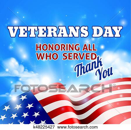 Clip Art Of Veterans Day American Flag Background Sky K48225427