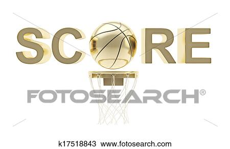 drawing of word score basketball themed composition k17518843
