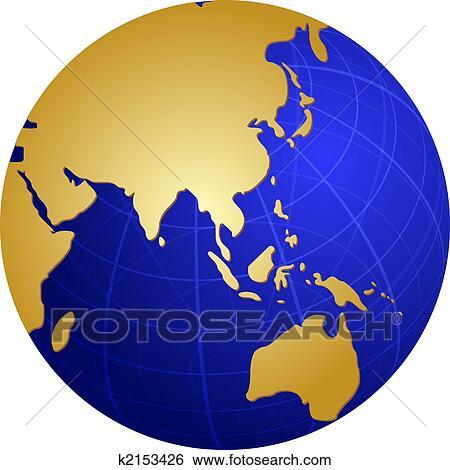 地図 の アジア 上に 地球 イラスト イラスト K2153426 Fotosearch