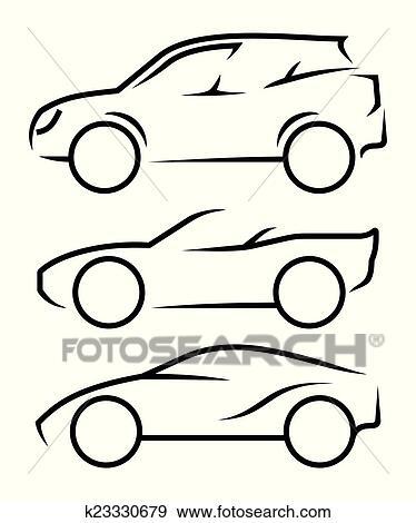Clip Art - auto, strichzeichnung k23330679 - Suche Clipart, Poster ...