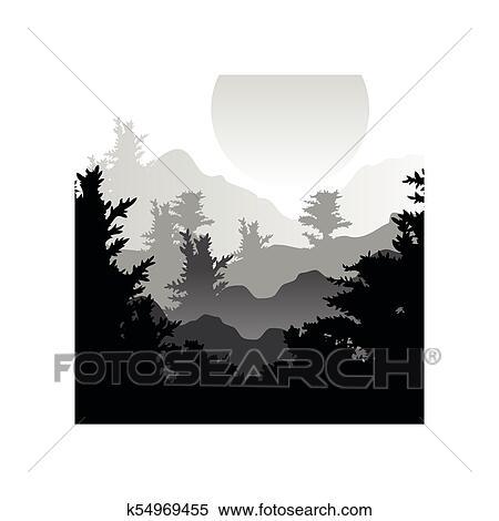Bonito Paisagem Natureza Com Silhuetas De Floresta