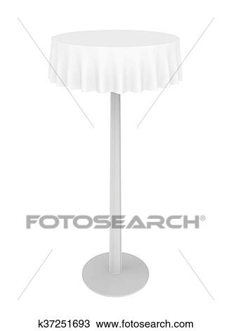 Empty High Round Table With Tablecloth Isolated On White Background Drawing