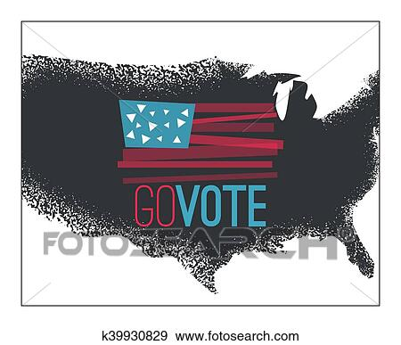 Clip Art Of Go Vote Illustration Primitive Flag On Dark Grundy Us