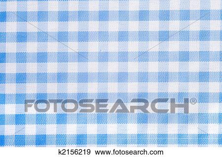 Light Blue Gingham Or Checked Tablecloth Background