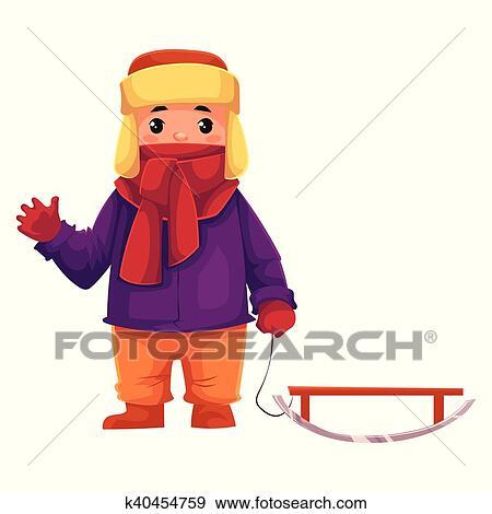 103456bf6e74 Niño pequeño, en, ropa de invierno, tirar, un, trineo Clip Art