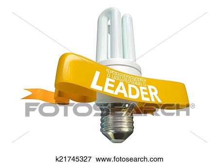 Thought Leader Light Bulb And Banner Stock Illustration K21745327 Fotosearch