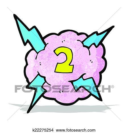 漫画 稲光の嵐 雲 シンボル で ナンバー2 クリップアート