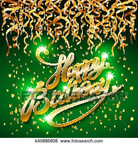 04949301ab4 Concept, feestje, op, groene, donkere achtergrond, hoogste mening,  gelukkige verjaardag, goud, confetti, vector, -, hippe, platte, motieven,  stijl ...