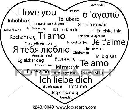 Clip Art Frase I Amor You En Diferente Idiomas K24870049