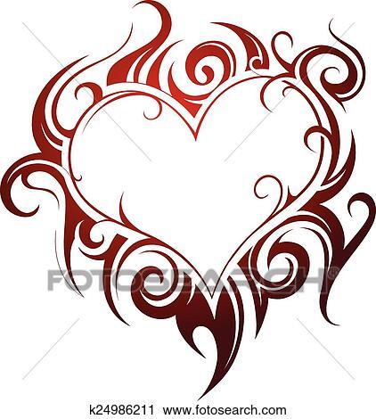 Heart Shape Tattoo Clipart K24986211 Fotosearch