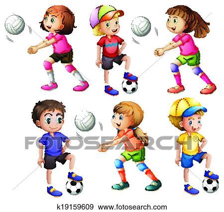 Kinder, spielen von volleyball, und, football Clip Art ...