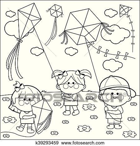 Clip Art Kindern Fliegen Drachen Ausmalbilder K39293459 Suche