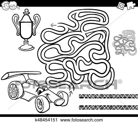 Clipart Of Maze With Race Car Coloring Page K48454151