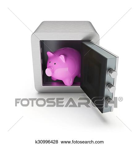 Open Safe Box With Pink Piggybank Inside Stock Ilration