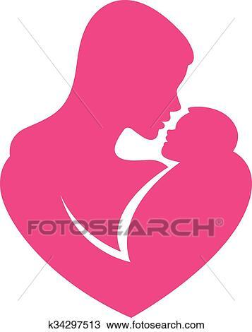 Clipart Segno Stilizzato Madre Abbraccia Bambino K34297513