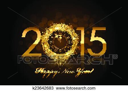 Clipart - vektor, 2015, frohes neues jahr, hintergrund, mit, gold ...