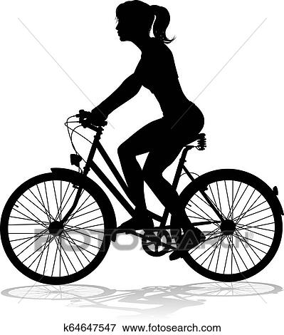 Clip Art Of Woman Bike Cyclist Riding Bicycle Silhouette K64647547