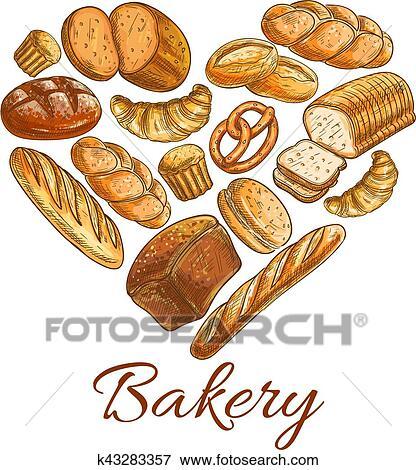 دكان بيع الخبز تسوق القلب رمز بسبب رسم Bread Clip Art K43283357 Fotosearch
