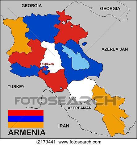Armenien Landkarte Stock Bild K2179441 Fotosearch
