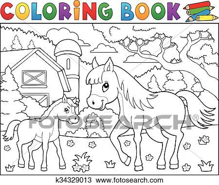 Clipart Ausmalbilder Pferd Mit Fohlen Thema 2 K34329013