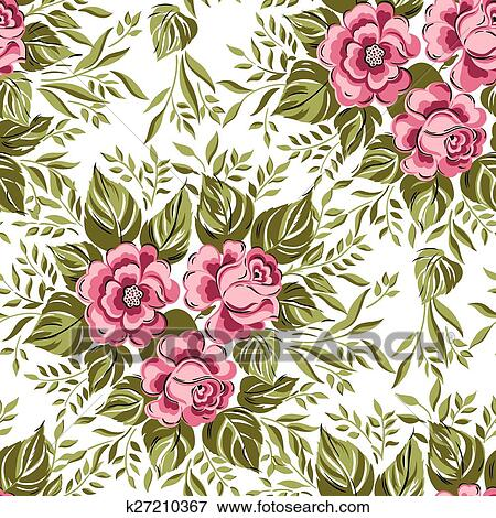 Beautiful Seamless Floral Pattern Flower Vector Illustration Elegance Wallpaper With Of Pink Roses On Background