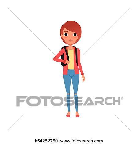 Chaqueta En Amarillo Camiseta Carácter Hembra Caricatura Roja 4gq7t1x