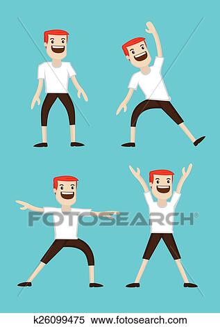 Cartoon Man Warm Up Stretching Exercises Clipart K26099475 Fotosearch