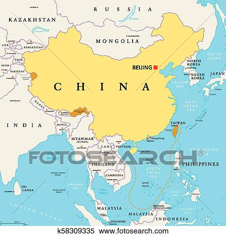China Controlled And Claimed Regions Political Map Clipart K58309335