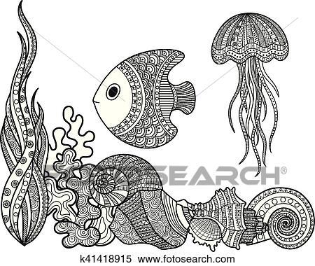 Clipart - conjunto, de, vida marina, pez k41418915 - Buscar Clip Art ...