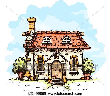 Clipart Eingang In Alt Märchen Haus Mit Fliesenmuster Dach