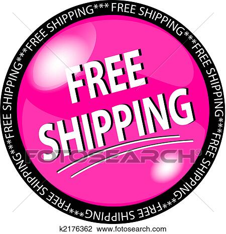 clip art of pink free shipping button k2176362 search clipart rh fotosearch com free shipping icons clipart Shipping Truck Clip Art
