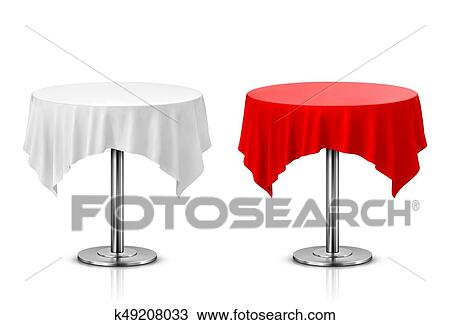 Round Table With Tablecloth Isolated On White Background Drawing