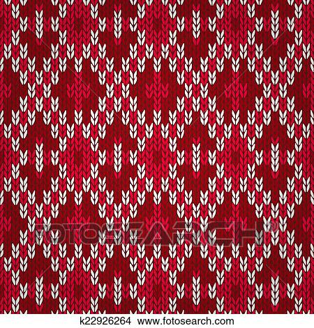 Drawings Of Seamless Christmas Red Knitted Pattern K22926264