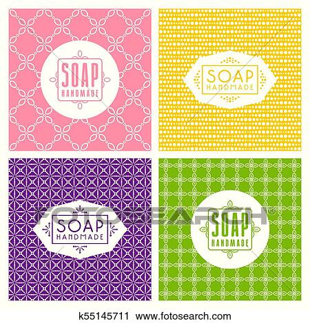 Clipart Of Set Of Seamless Pattern And Labels For Handmade Soap
