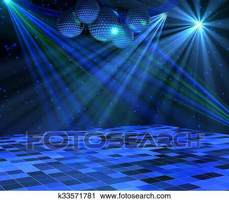 青 ディスコ ダンスフロア クリップアート K33571781 Fotosearch