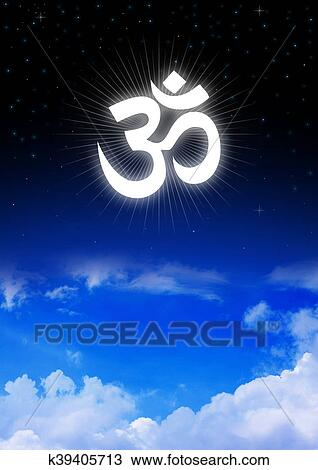 Stock Photo Of Aum Or Om Symbol Of Hinduism On Night Sky K39405713